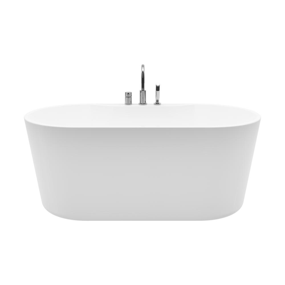 Coral 56 in. Acrylic Freestanding Flatbottom Non-Whirlpool Bathtub in White All-in-One Kit