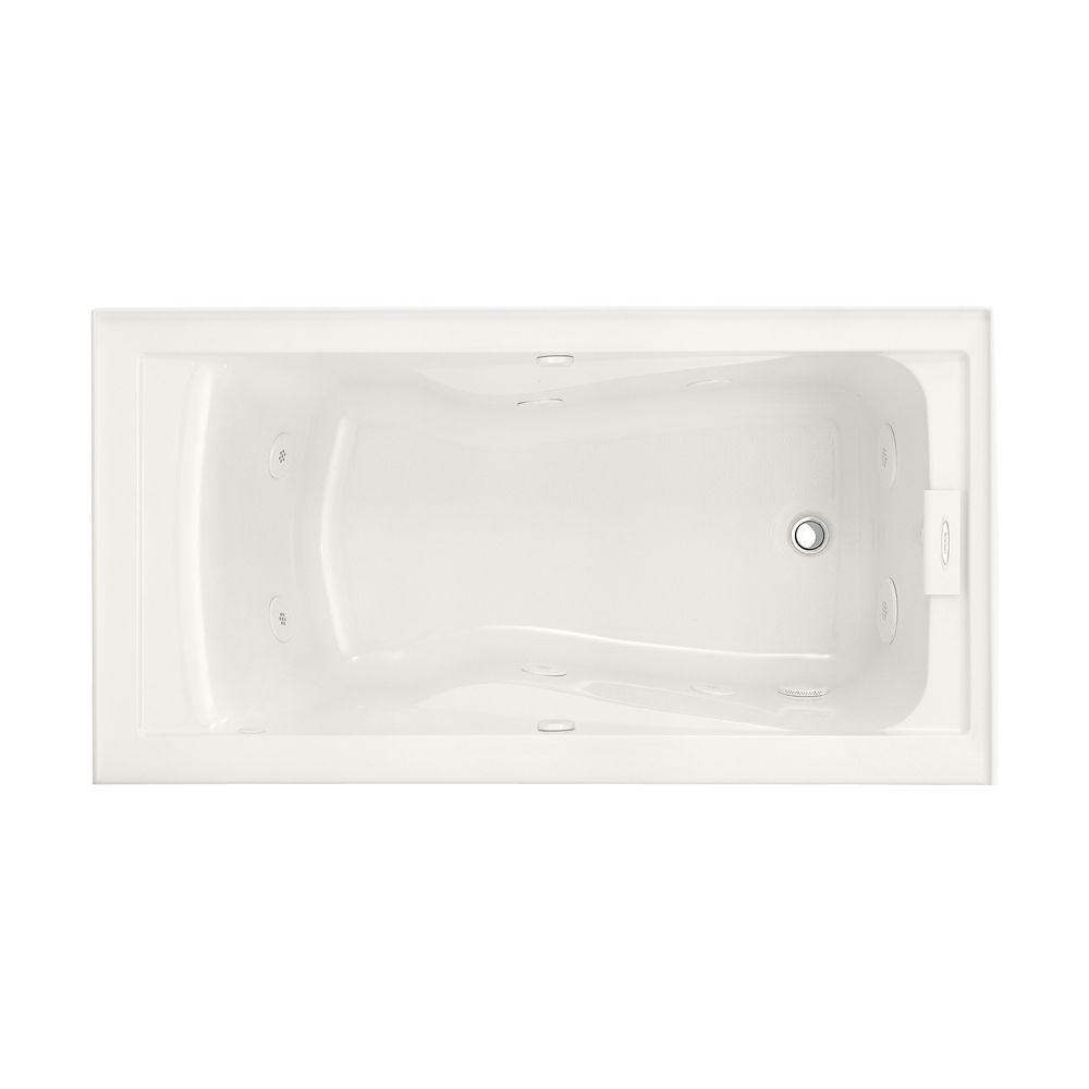 EverClean 60 in. Acrylic Right Drain Rectangular Alcove Whirlpool Bathtub in White
