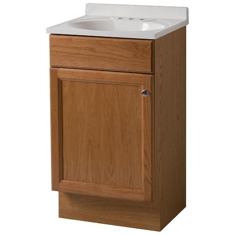 18 in. W x 35 in. H x 16 in. D Bath Vanity in Oak with Cultured Marble Vanity Top in White