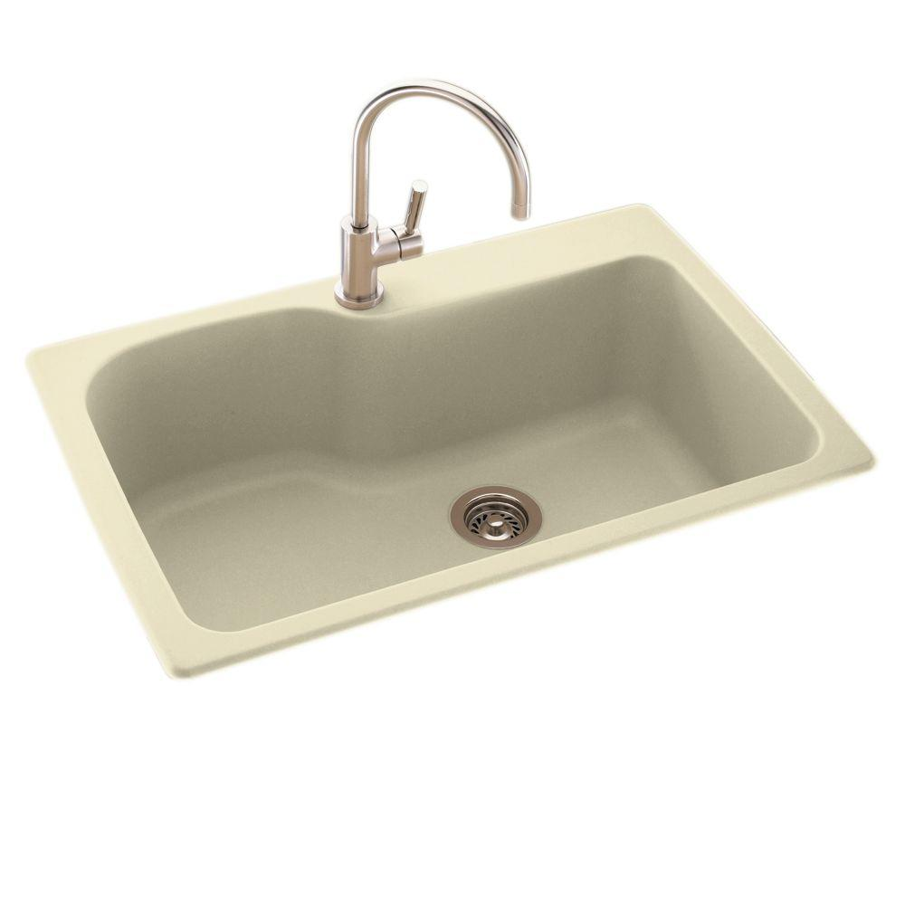 Drop-In/Undermount Solid Surface 33 in. 1-Hole Single Bowl Kitchen Sink in Bone