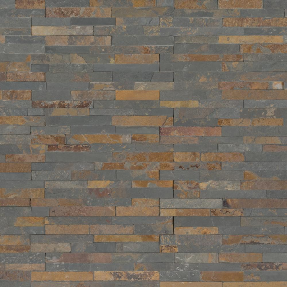 Gold Rush Mini Ledger Panel 4.5 in. x 16 in. Natural Slate Wall Tile (5 sq. ft. /case)