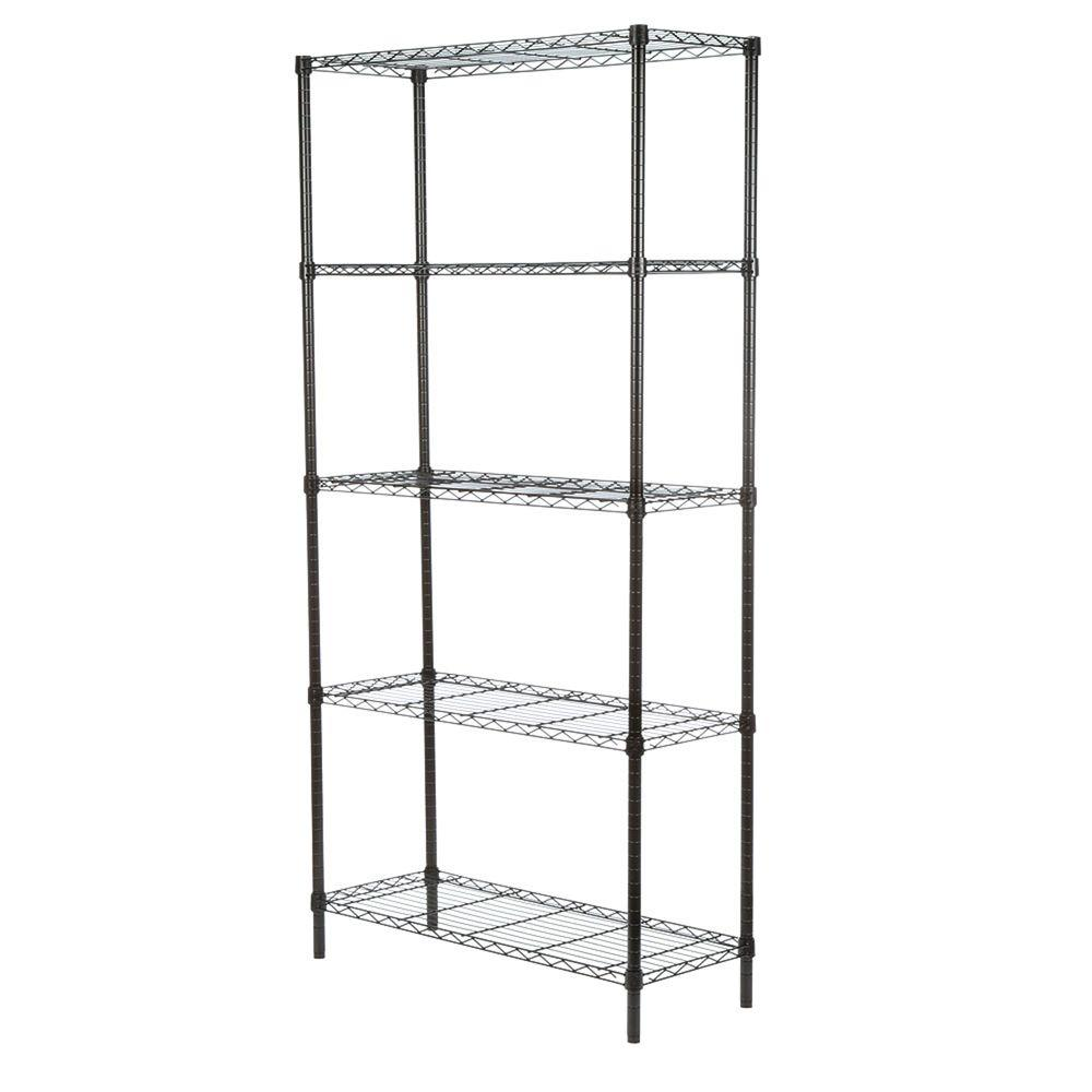 5-Tier Adjustable Storage Shelving Unit, Black