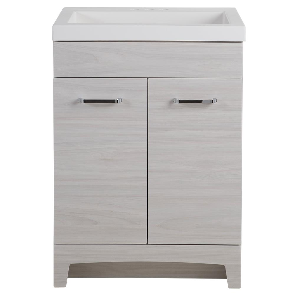 Stancliff 24 in. W x 19 in. D Bathroom Vanity in Elm Sky with Cultured Marble Vanity Top in White with White Basin