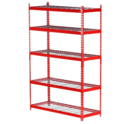 72 in. H x 48 in. W x 18 in. D 5-Shelf Steel Storage Shelving Unit in Red