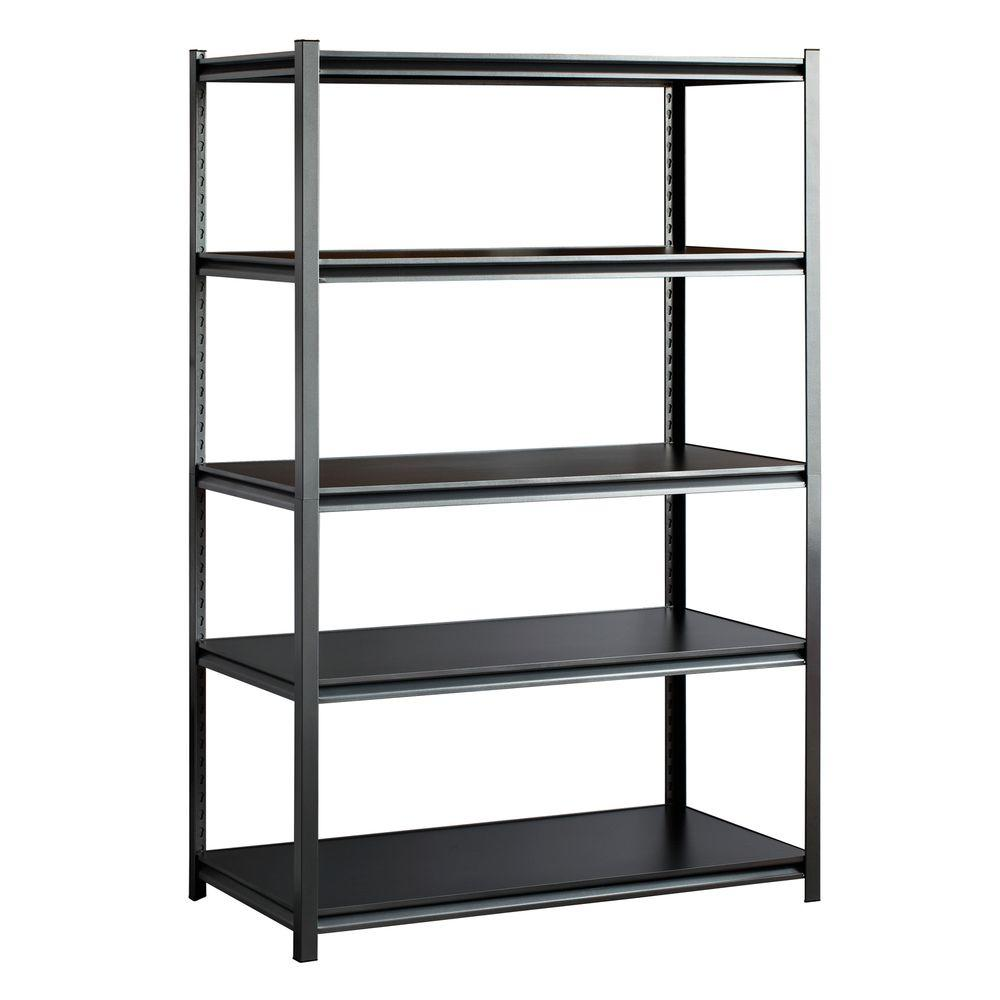 72 in. H x 48 in. W x 24 in. D 5-Shelf Steel Storage Shelving Unit in Silvervein